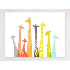 Giraffes Framed Graphic Art on Canvas