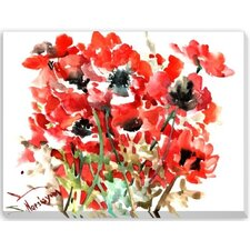 Anemones Red Painting Print on Wrapped Canvas