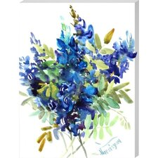 Blue Flowers Painting Print on Wrapped Canvas