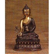 Brass Series Buddha with Medicine Bowl on Lotus Figurine