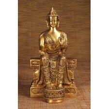 Brass Series Buddha Sitting On Tall Throne Figurine