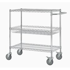 "40"" Three Shelf Heavy Duty Commercial Grade Shelving Cart"