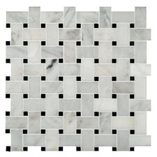 Basket Weave Pattern Random Sized Natural Stone Mosaic Tile in White