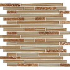 Interlocking Random Sized Glass and Natural Stone Mosaic Tile in Pelican Sand