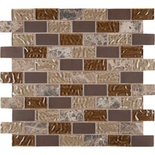 """Sonoma Blend 1"""" x 2"""" Glass and Natural Stone Subway Tile in Brown"""