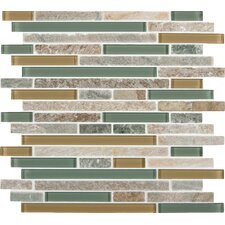 Interlocking Random Sized Fields Glass and Natural Stone Mosaic Tile in Golden