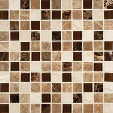 """Ibiza Blend 1"""" x 1""""  Glass and Natural Stone Mosaic Tile in Multi"""