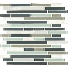 Interlocking Random Sized Glass and Natural Mosaic Tile in Multi