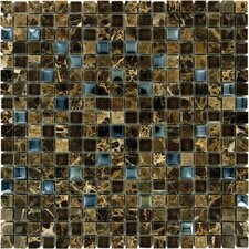 Crystallized 0.625'' x 0.625 Glass Mosaic Tile in Emperador Dark Blend