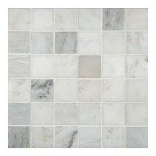 "Arabescato Carrara 2"" x 2"" Grid Marble Mosaic Tile"