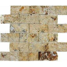 "Tuscany Scabas 2"" x 4"" Travertine Splitface Tile in Gold"