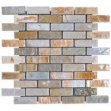 1'' x 3'' Slate Mosaic Tile in Golden White