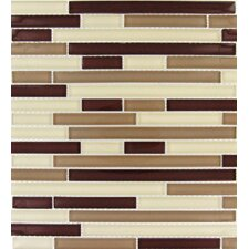 Sedona Interlocking Random Sized Glass Mosaic Tile in Beige and Brown