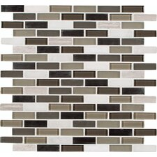 "Silver Tip Mounted 0.63"" x 2"" Glass Stone Metal Mosaic Tile in Multi"