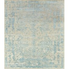 Pearl Hand-Knotted Heather Gray/Aqua Area Rug