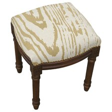 Graphic Faux Bois Linen Upholstered Vanity Stool