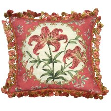 Floral Tiger Lily Needlepoint Wool Throw Pillow