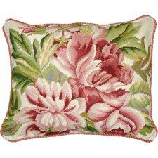 Floral Magnolia Needlepoint Wool Lumbar Pillow
