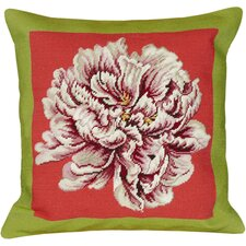 Floral Peony Needlepoint Wool Throw Pillow