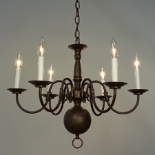 Classic Williamsburgs 6 Light Candle Chandelier