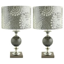 """Jessa 22"""" H Table Lamp with Drum Shade (Set of 2)"""
