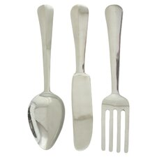 3 Piece Aluminum Silverware Wall Decor Set
