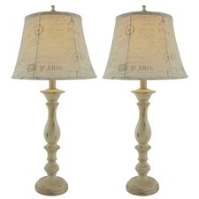 "Lori 34"" H Table Lamp with Bell Shade (Set of 2)"