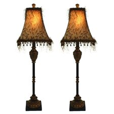 """Emelia Buffet 33"""" H Table Lamp with Bell Shade (Set of 2)"""