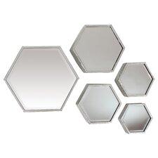 Terry Hexagonal 5 Piece Wall Mirror Set
