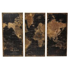 Stanford World Map 3 Piece Graphic Art Set