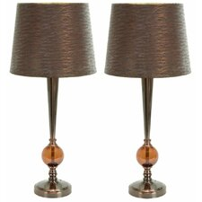 "Kiara Modern Buffet 29"" H Table Lamp with Empire Shade (Set of 2)"
