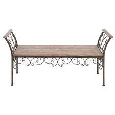Elegant Metal and Wood Bench