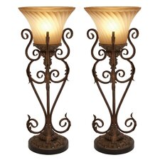 "Lisette Torchiere 30"" H Table Lamp with Bell Shade (Set of 2)"