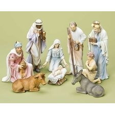9 Piece Pastel Nativity Figurine Set