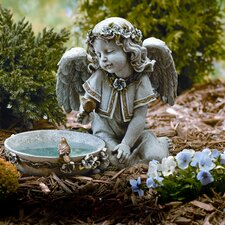 "10.75"" Angel Seated with Solar Powered Birdbath Figurine"