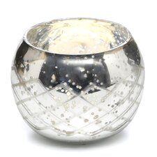 Champagne Etched Glass Diamond Shaped Votive (Set of 2)
