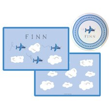 The Kids Tabletop 2 Piece Airplanes Placemat Set