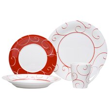 Panache Rouge 16 Piece Dinnerware Set