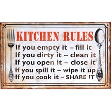 'Kitchen Rules...' Textual Art Plaque