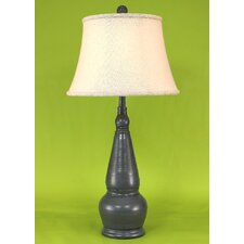 """Casual Living Spool Pot 30.5"""" H Table Lamp with Bell Shade"""