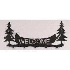 Pine Trees and Canoe Welcome Coat Rack