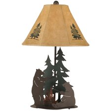 "Rustic Living Iron Bears Roasting Marshmallows 28.5"" H Table Lamp with Empire Shade"