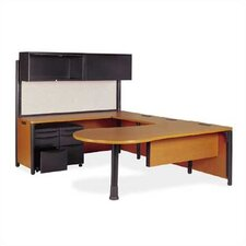Plateau Series U-Shape Computer Desk with Hutch and Pedestal