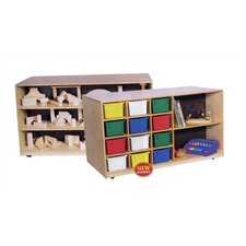 Double-Sided Mobile Storage Unit 14 Compartment Cubby