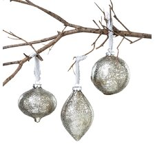 French Market Holiday 3 Piece Iced Glass Onion Ball Christmas Ornament Set (Set of 6)