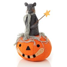Halloween Cloth Pumpkin with Rat Decoration
