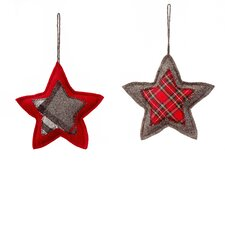Cherry Hill Lane Patchwork Quilted Star Ornament (Set of 2)