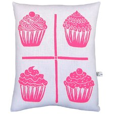 Squillow Cupcake Grid Block Print Accent Cotton Throw Pillow
