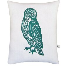 Owl Block Print Squillow Accent Cotton Throw Pillow
