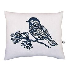 Chickadee Block Print Squillow Accent Cotton Throw Pillow
